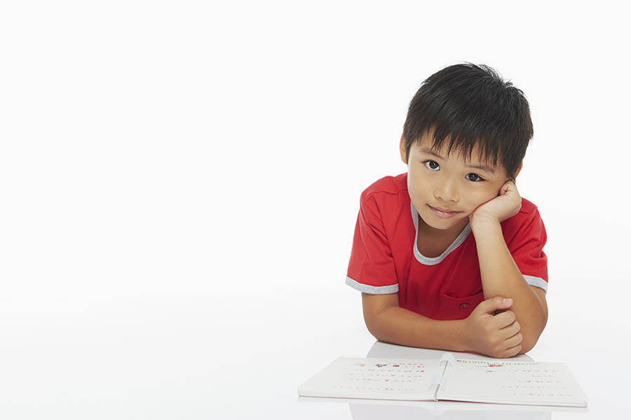 boy thinking during study
