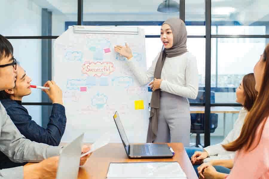 muslim women giving a presentation multiracial work place